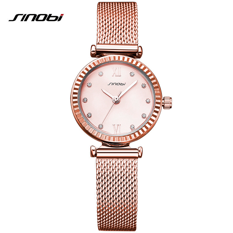 SINOBI Luxury Brand Watch Clock Women Female Business Quartz Wristwatch for Woman Stainless Steel Strap Hours цена 2017