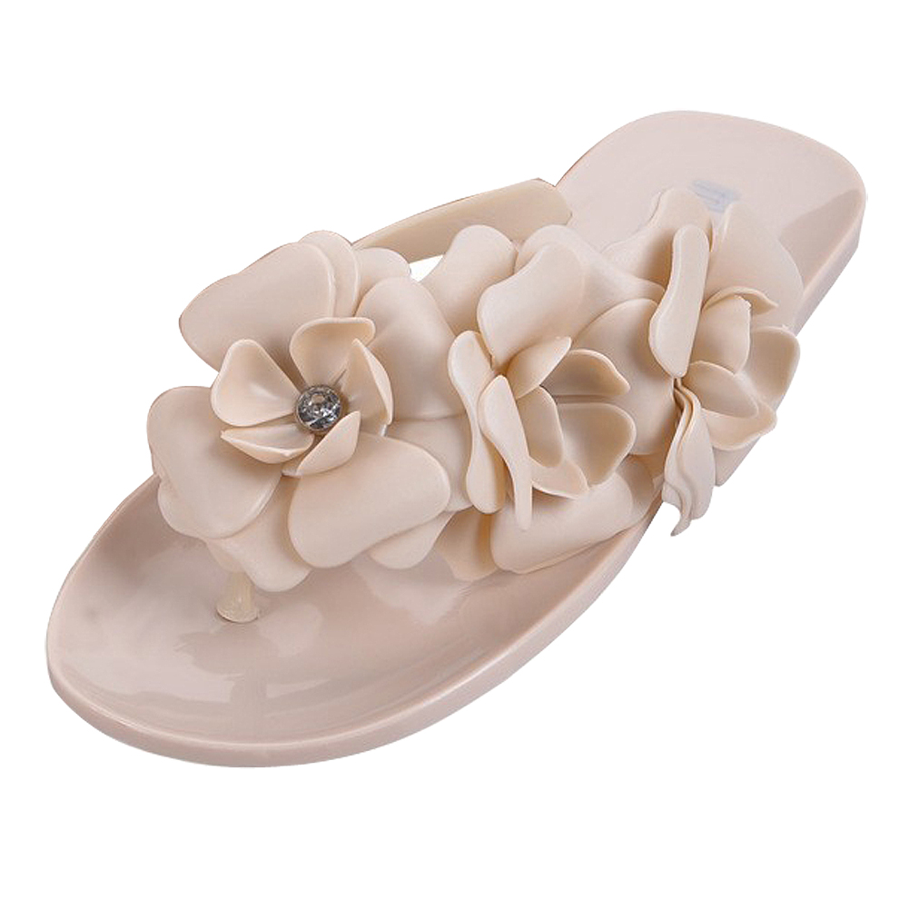 Summer style shoes for women Slippers New Flip Flops Women Sandals Female Sandals flower jelly sandals slippers Apricot US6.5=