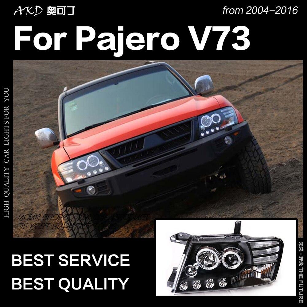 パジェロV73ヘッドライト2004-2016モンテロLEDヘッドライトDRL HidオプションヘッドランプエンジェルアイビームアクセサリーAKDカースタイリング三菱パジェロ