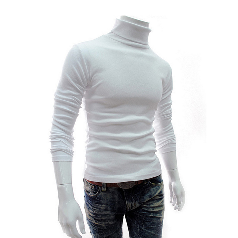 2016 Winter Mens Turtleneck Sweaters White Pullovers Sweater For Man Cotton Knitted Clothing Male Sweaters Pull Hombre XXXL 50
