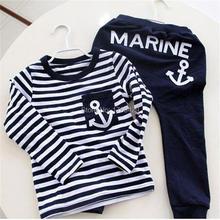 Флота военно-морского костюм, одежда, пуловер полосатый спортивный новых случайные мальчики одежды