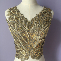 Sell By Piece Embroidery Sequined Gold With Black Collar Lace Appliques For Evening Dress