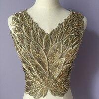 Venta De Piece Bordado Apliques de Encaje de Cuello de Lentejuelas de Oro Con Negro Para El Vestido de Noche