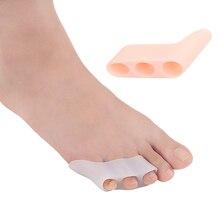 купить!  1 пара Гелевые сепараторы пальцев ног Ортопедические носилки 3 отверстия Сепараторы для коррекции па