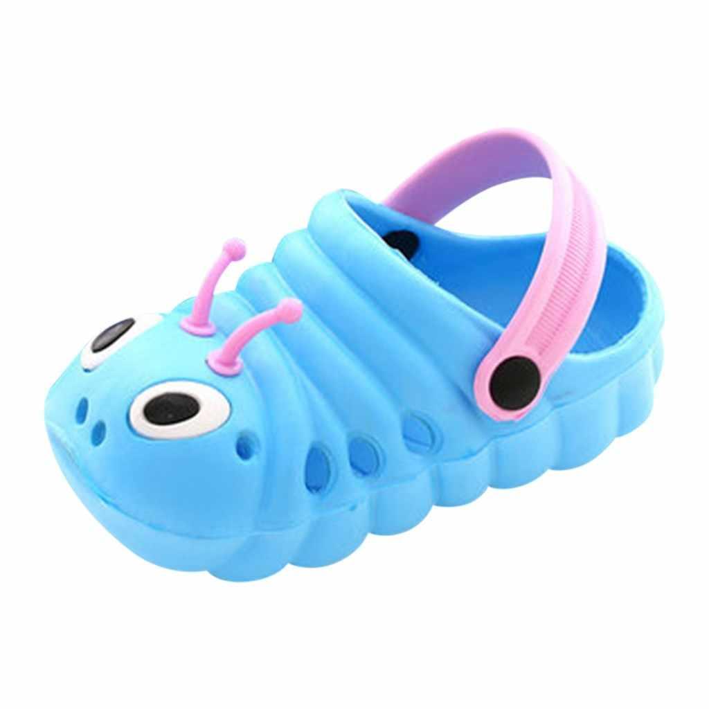 Летние пляжные шлепанцы для девочек и мальчиков; шлепанцы с милым мультяшным принтом; обувь для новорожденных; водонепроницаемые дышащие сандалии