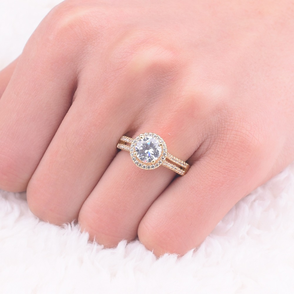 Promotion!!! Real Solid 100% 925 Silver & gold Wedding Rings Jewelry ...