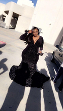 Plus Size Prom Dresses Black Mermaid Lace Plunging V Neck Long Sleeve Evening Gowns With 3D Flowers Party Dress