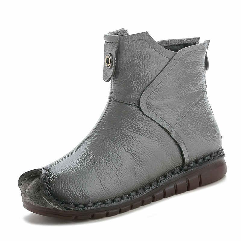 Xiuteng 2020 kış hakiki deri kadın yarım çizmeler el yapımı nakış etnik tarzı Vintage kadın ayakkabı düz çizmeler hediye için