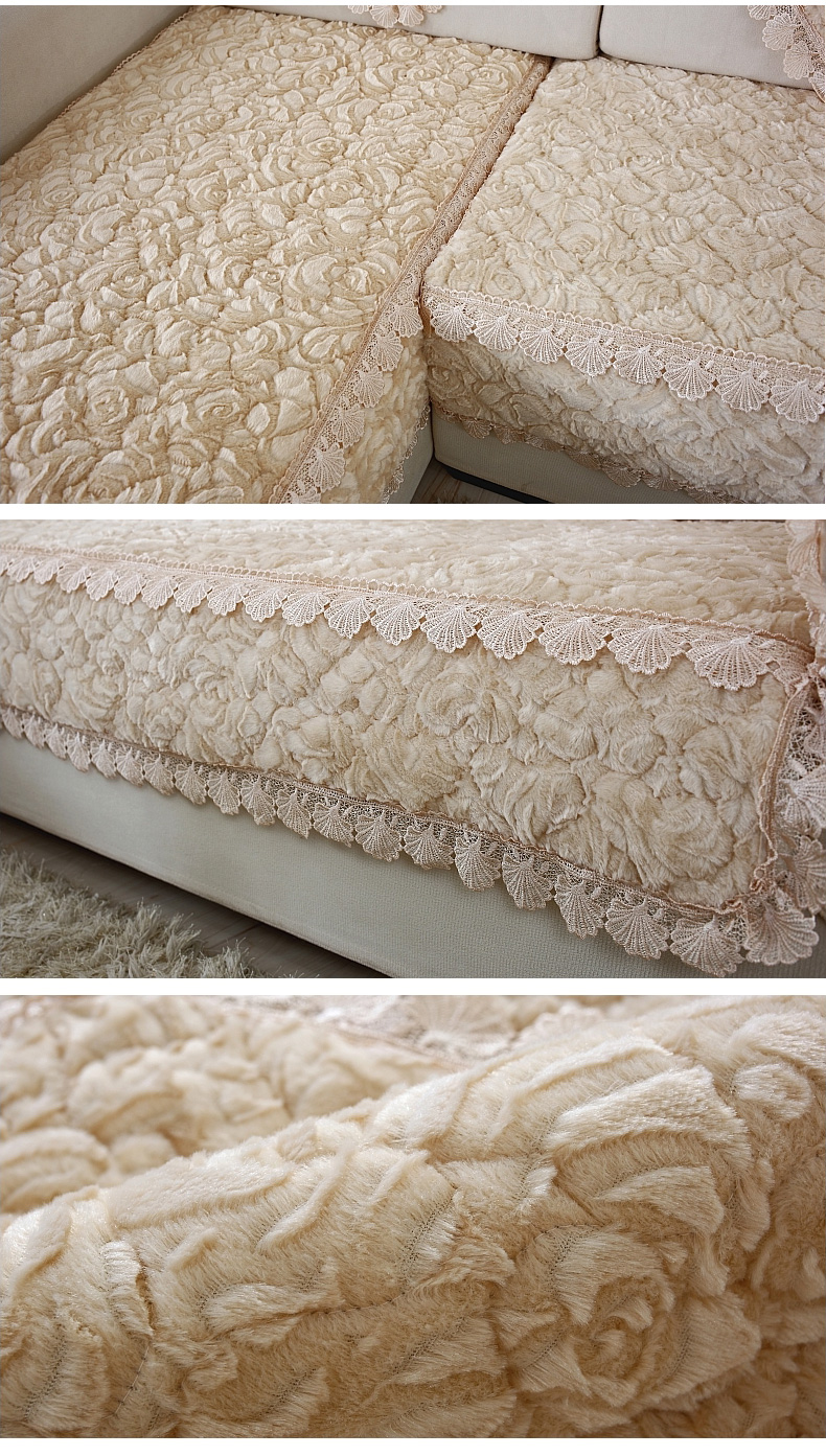Thick Slip Resistant Couch Cover for Corner Sofa Made with Plush Fabric Including Lace for Living Room Decor 12