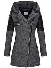 Women Long Woolen Coat Autumn Winter Hot Stylish Patchwork Hooded Zipper Casual Overcoat England Style Ladies Elegant Outerwear