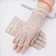 Semi-Finger Gloves Female Sun Protection Anti-UV Thin Pure Cotton Anti-Slip Driving Half Finger Women Mittens TB30