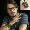 Homens de couro Cuff Envoltório Punk Bracelet & Bangles Presentes Pulseira Belt. Johnny Depp Banda Moda Pulseira Masculina Masculino Bijoux