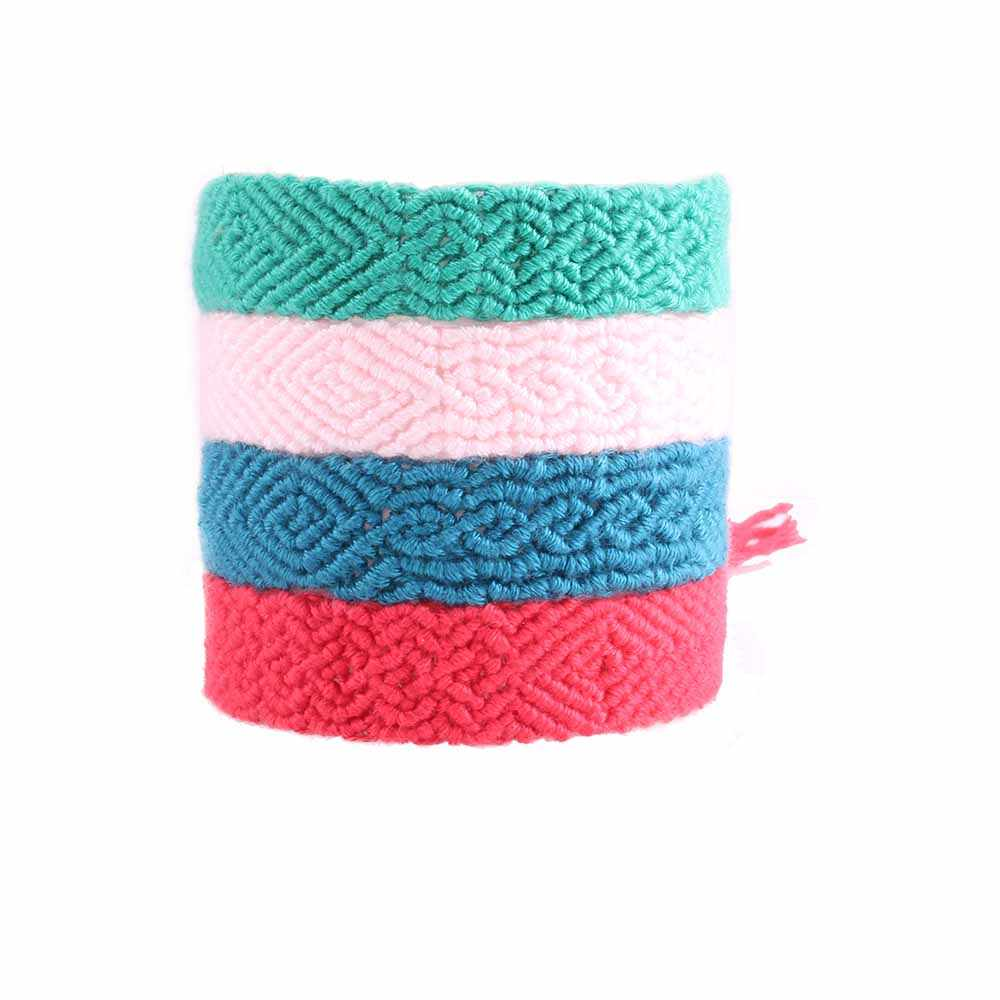 solid color wavy monochrome woven friendship bracelet green blue grey pink red embroidery thread macrame wrap bracelet femme kid