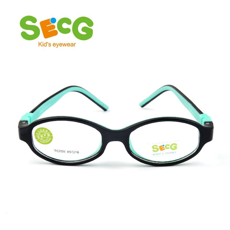 SECG Round Oval Ultralight Flexible Kids Frame Glasses For Sight Myopia Chilren Frame Eyeglasses Frame Detachable Strap Lunettes