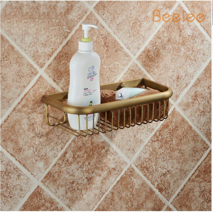 Beelee Free Shipping Antique Brass Bathroom Accessories / Soap / Sponge & Body Wash Wall Mounted Shower Storage Basket european style brass antique bronze solid brass bathroom soap holder soap basket bathroom accessories soap dish bathroom shelf