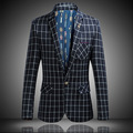 Spring and Autumn men 's leisure suit large size plaid small suit men' s young men 's British single - West jacket tide