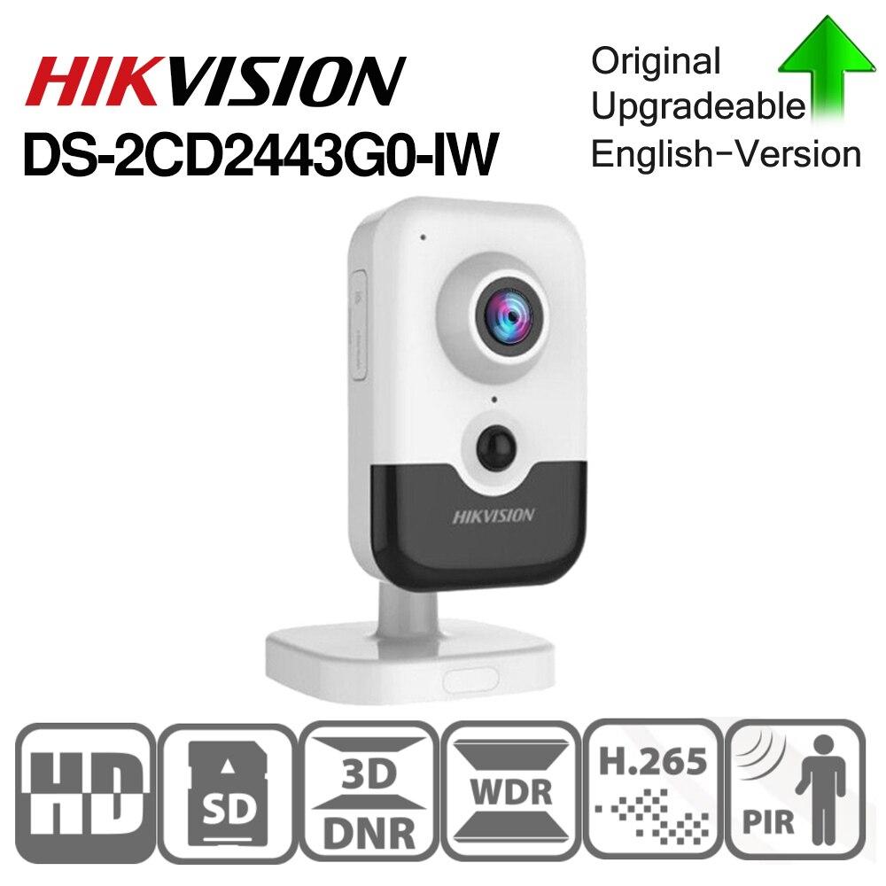 Hikvision DS-2CD2443G0-IW caméra Wi-Fi Surveillance vidéo 4MP IR Cube fixe caméra IP sans fil bidirectionnelle Audio H.265 +