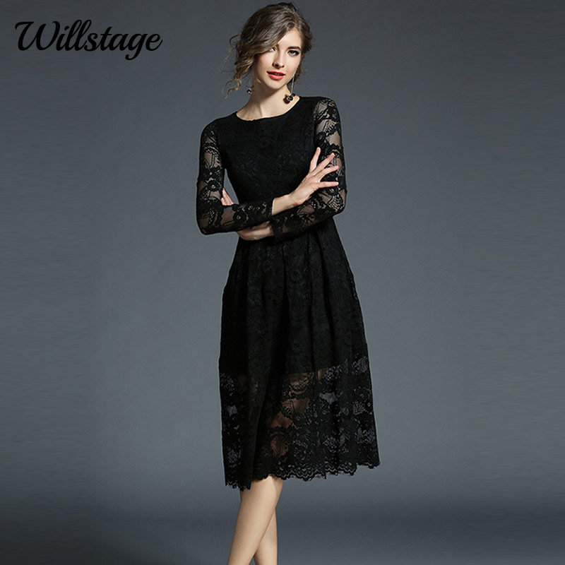 Willstage Black Lace Dress Long Sleeve Floral Print Party Dresses Women  Sexy Hollow out Elegant Clothing White New 2018 Spring 90fd6567a811