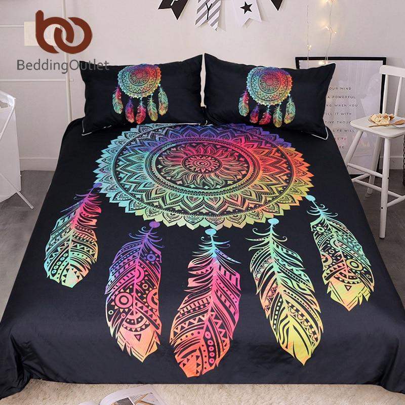 BeddingOutlet Dreamcatcher Bedding Set King Double Duvet Cover Boho Colored Feathers Bedclothes 3pcs Mandala Black Home Textiles