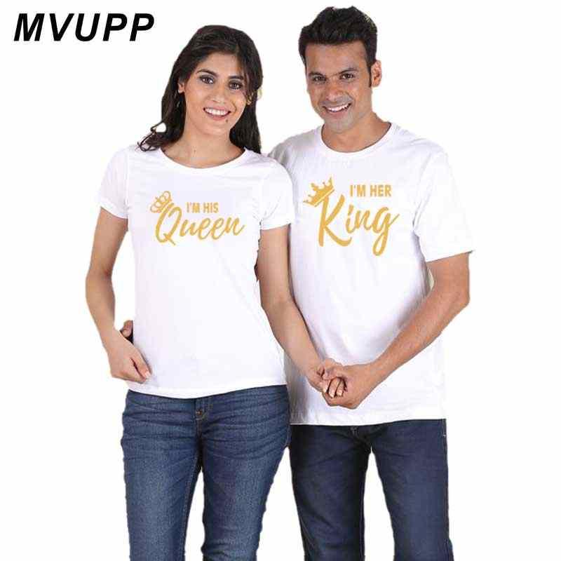 2019 di Nuovo Modo di Re Regina Stampata Lettera Nero di Estate Coppia Magliette Magliette E Camicette Tee Casual Cotone Manica Corta Coreano Allentato Vestiti