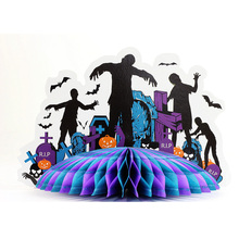 Halloween Tissue Honeycomb Paper Table Centerpiece Zombie Party Zombie Centerpiece Haunted House Centerpiece Table Decoration 1piece lot centerpiece lighting remote controlled 8inch spot led light base for centerpiece table vase shisha hookah decor