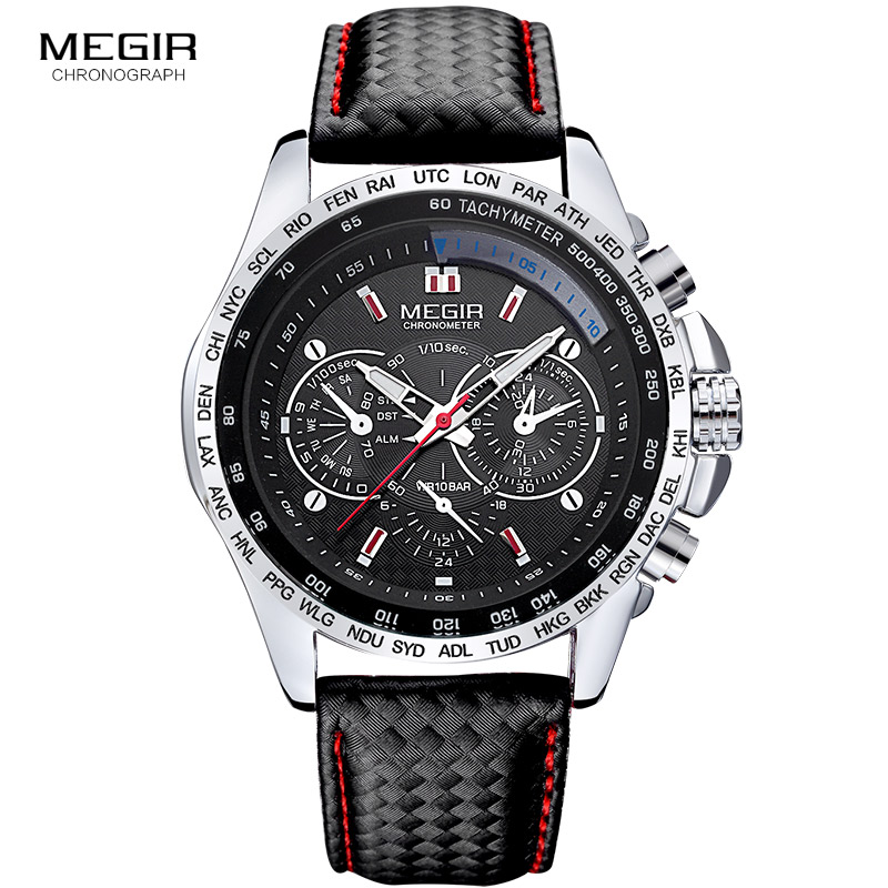 Megir fashion luminous quartz watch man casual leather brand watches men analog waterproof wristwatch for male hot hour 1010 megir 2017 fashion creative sport waterproof quartz watch men casual leather brand wristwatch luminous stop wristwatch for male