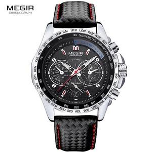 Image 3 - Megir moda aydınlık quartz saat adam rahat deri marka saatler erkekler analog su geçirmez kol saati erkek sıcak saat 1010