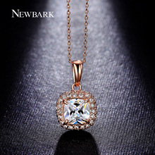 NEWBARK Necklaces Pendant Princess Cut Big Cubic Zircon 4 Claw 2 Color Necklace Square AAA CZ Diamond Rose Gold Plated Women