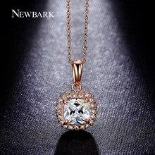 NEWBARK Necklaces Pendant Princess Cut Big Cubic Zircon 4 Claw 2 Color Necklace Square AAA CZ