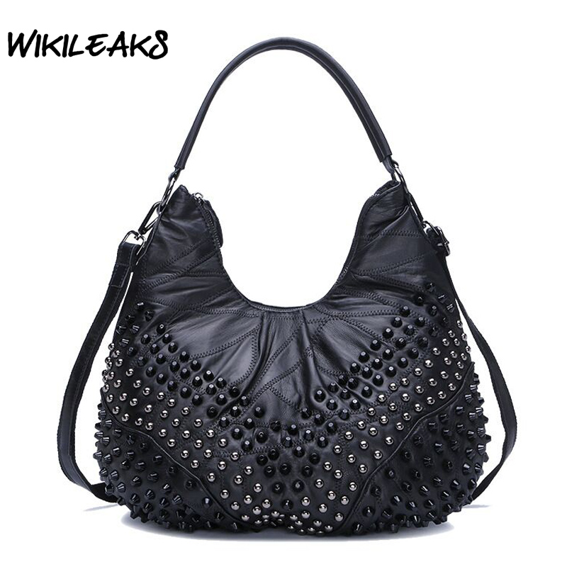 WIKILEAKS Women Genuine Leather Handbags Sheepskin Hobos Large Capacity Shoulder Bags stud Diamonds Vintage Crossbody Totes D95