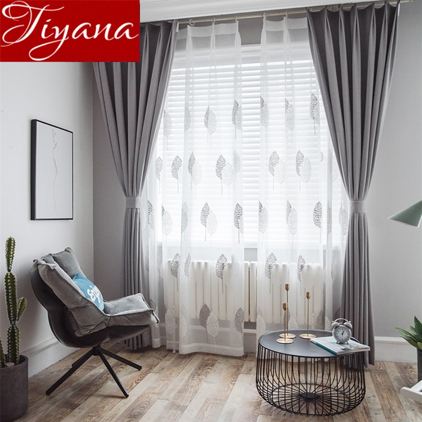 US $12.08 35% OFF|Gray Curtain for Window Bedroom White Sheer Voile Fabrics  Plant Curtain for Living Room Tulle Drapes Treatment Kitchen X399 #30-in ...