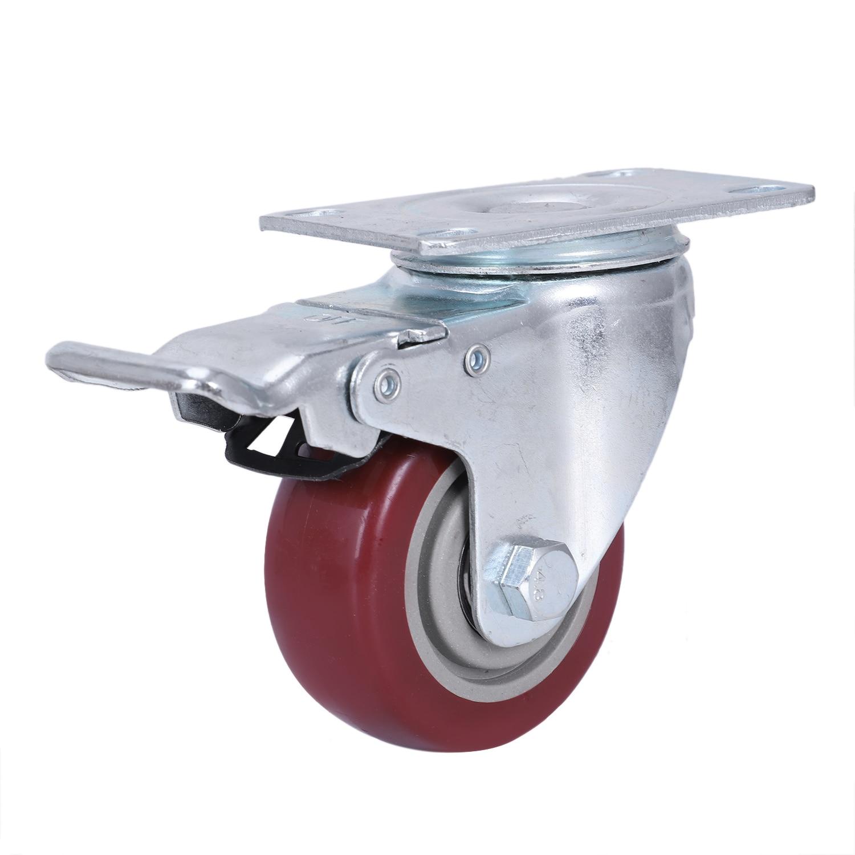 4 Pack Caster Wheels Swivel Plate with Brake On Red Polyurethane Wheels Black