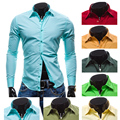 Mens Shirt 2016 New Brand Clothing Men's Slim Long Sleeve Shirts Chemise Homme Camisas Mens Clothing Solid Dress Shirts SC06