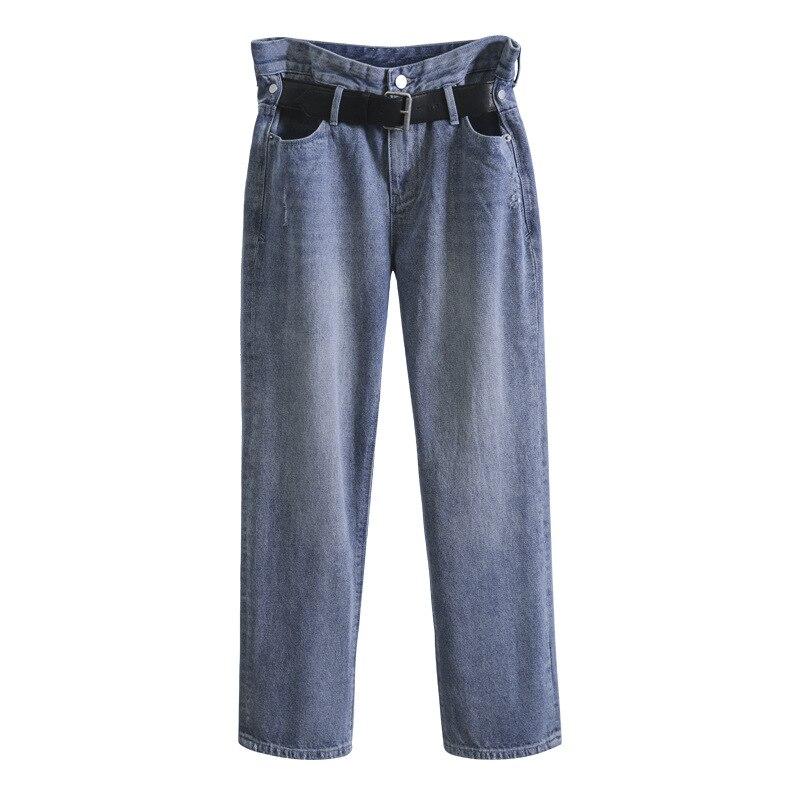 Femme Pantalon Occasionnel Denim Mi Nouvelle Straight Affligé Jeans Longs Blue Femmes Taille Ceinture Lâche Mode Getsring 2019 Xx5wRqFz