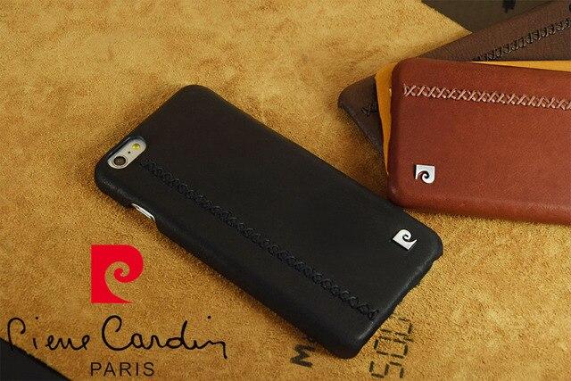 Case para iphone 7/7 plus 6/6 s 6/6 s mais novo pierre cardin genuíno couro voltar hard case com tampa de metal logotipo