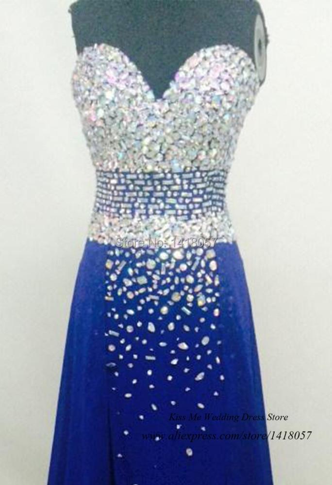 22343bb55 Muestra Real azul Real elegante vestidos de graduación 2015 chifón largo  Vestido de noche para graduación Abendkleider cristal Vestido de fiesta en  Vestidos ...