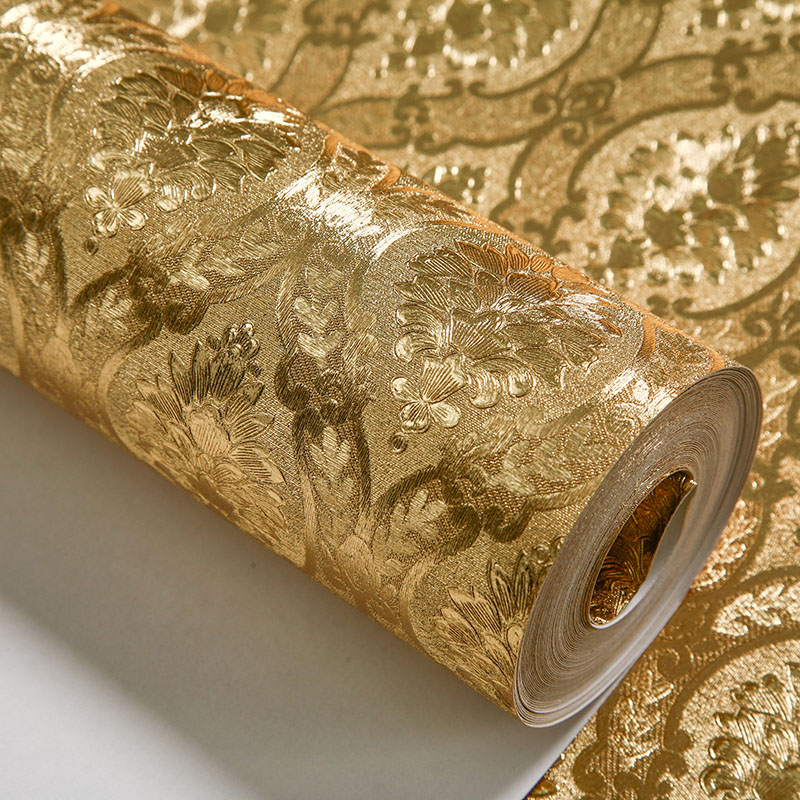 Silver gold foil wall paper rolls home decor background for Gold wallpaper for home