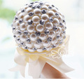 2014 white bridal bouquet de noiva perolas, buque de noiva de perola, pearl bouquet, wedding bouquet flowers, free shipping FW74