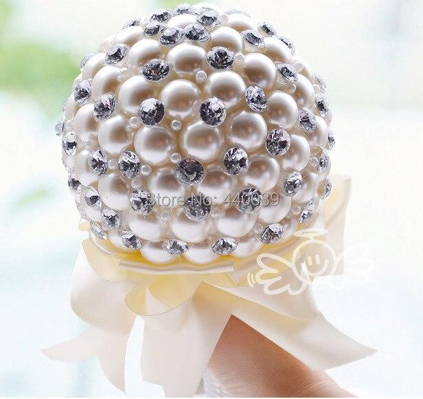 2014 white bridal bouquet de noiva perolas, buque de noiva de perola, pearl bouquet, wedding bouquet flowers, free shipping FW74