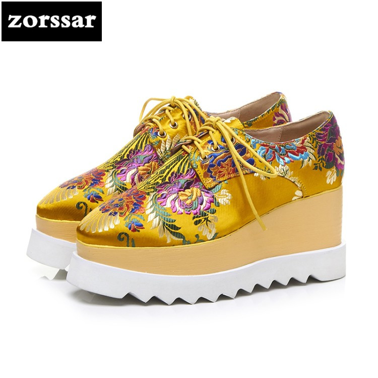 {Zorssar} 2018 NEW Fashion embroidery womens Platform shoes casual Lace-up Round toe Wedges High heels women Creepers shoes genuine cow leather spring shoes wedges soft outsole womens casual platform shoes high heel round toe handmade shoes for women
