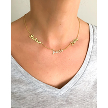 Three Name Necklaces Gold Chain Personalized English Names Necklace Women Rose Stacked Choker Islamic Jewelry