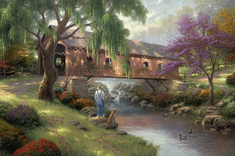 Thomas Kinkade The Old Fishin' Hole Canvas Print Large