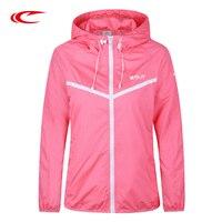 SAIQI Thin Running Hiking Sport Women Jacket Spring Autumn Long Sleeve With Cap Breathable Jacket 217000