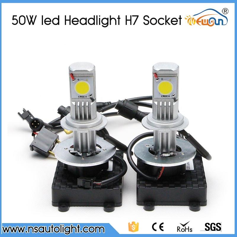 H7 car led headlight H7 50W LED 3600LM White CREE  led chips led car headlight Headlamp Bulb Lamp Light