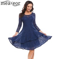 Meaneor Women Vintage Lace Dress Autumn Casual 3 4 Sleeve Lace Hollow Out Double Ruffles Hem