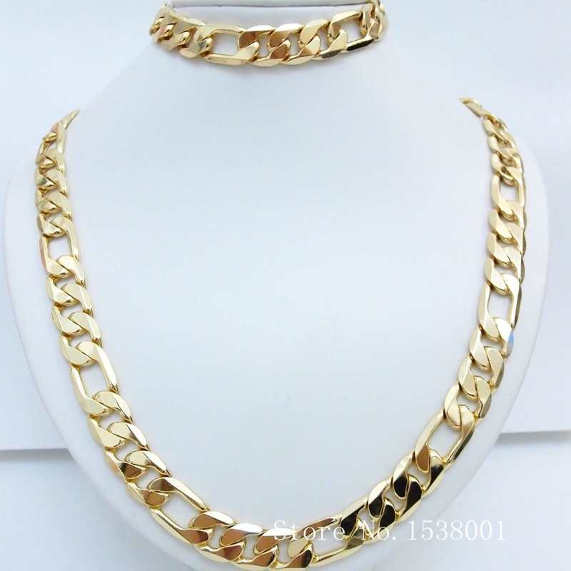 "Solid   Yellow Gold Filled Men's Necklace+Bracelet Set Figaro Curb Solid Chain 24""+8.6"""