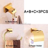 European Luxury Golden Finished Bathroom Hardware Set Robe Hook+Paper Holder+Towel Ring Shower Bath Accessories Brass Material