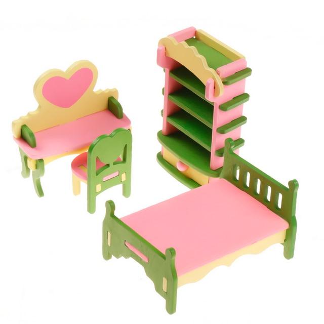 4pcs/set 1:16 Dollhouse Miniature Babyu0027s Princess Room Creative Furniture  Wooden Shelf Heart
