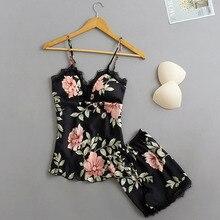 Sleep Lounge Pajama Set Sexy Satin Sleepwear Women Summer V-
