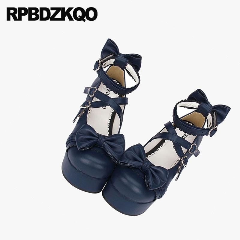 3 Inch Platform Chunky 12 44 Round Toe Crossdresser Pumps Lolita 13 45 Cross Strap Big Women Shoes Size Ankle Bow High Heels